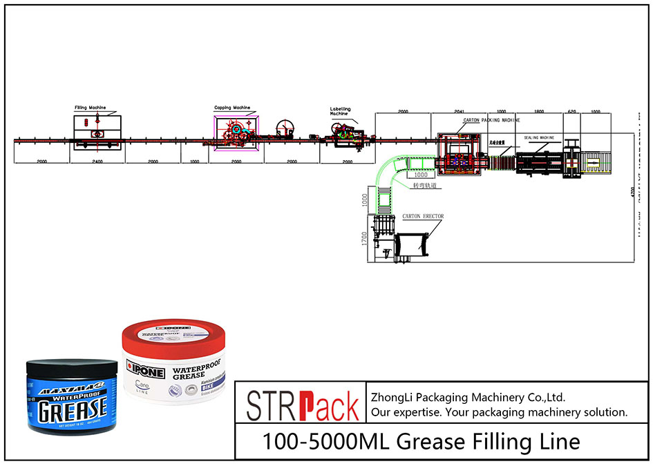 Linha de enchimento de graxa automática 100ML-5L