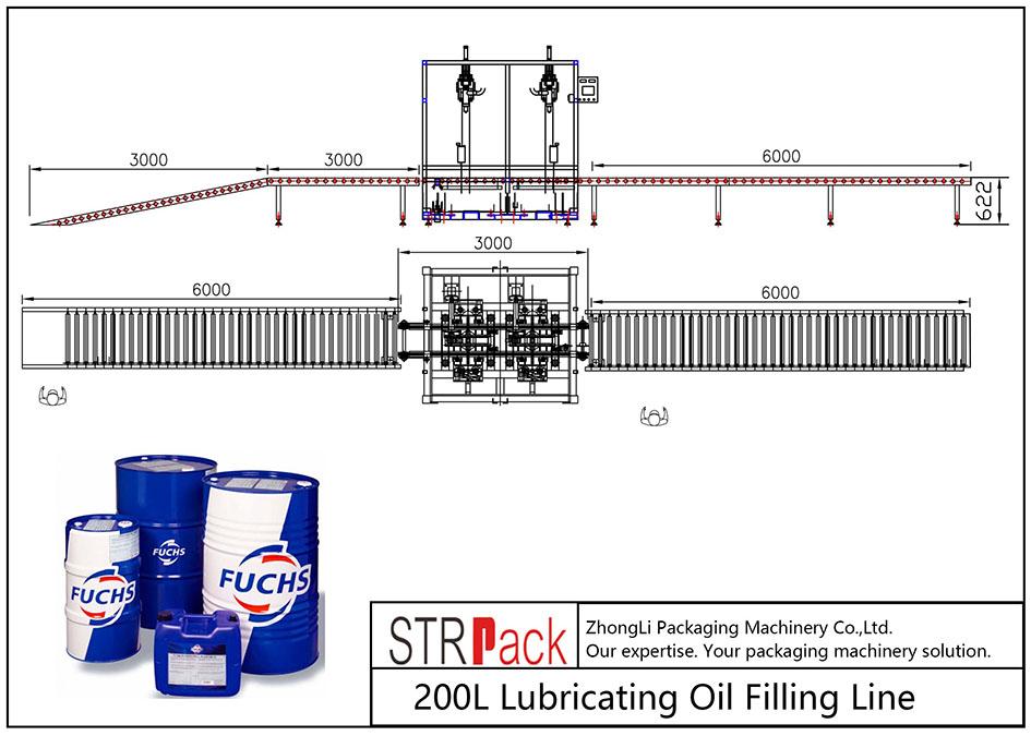 Linha de enchimento automática de óleo lubrificante 200L