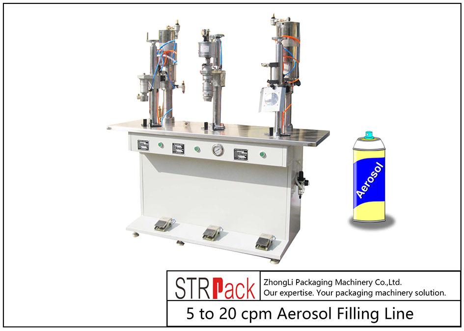 Máquina de enchimento de aerossol semi-automática