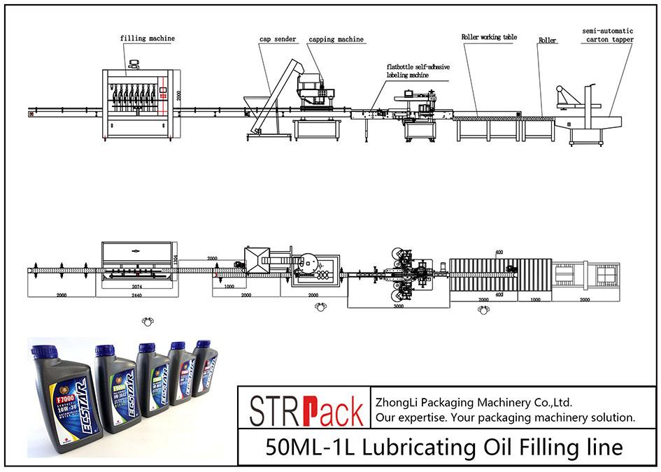 Linha de enchimento automática de óleo lubrificante 50ML-1L