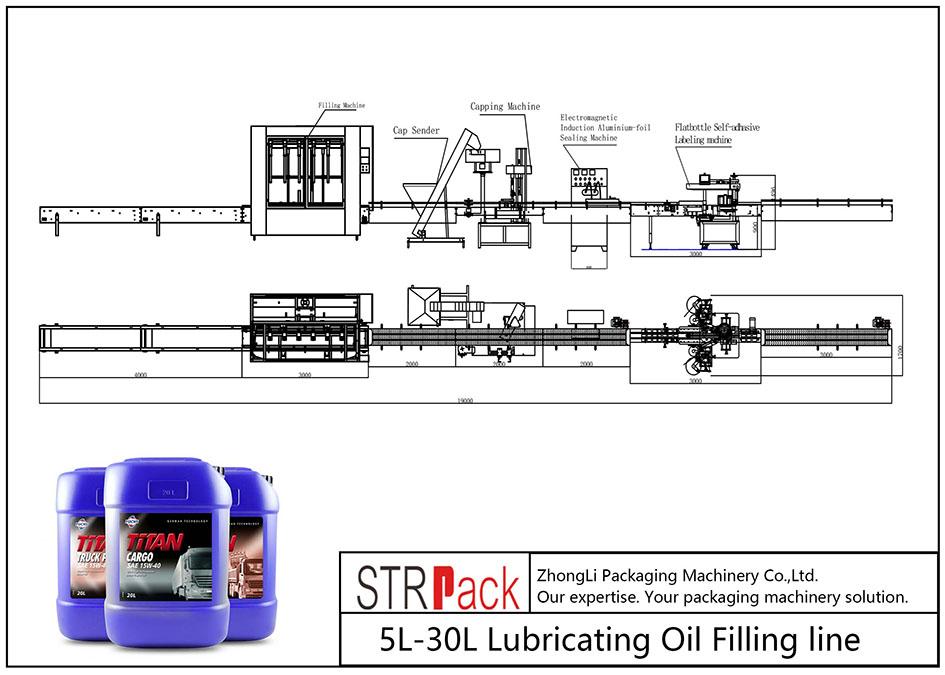 Linha de enchimento automática de óleo lubrificante 5L-30L