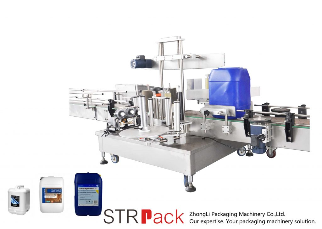 Máquina de rotulagem lateral dupla automática para tambor 5-25L