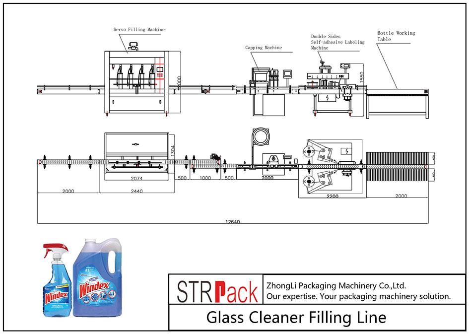 Linha de enchimento de limpador de vidro automático