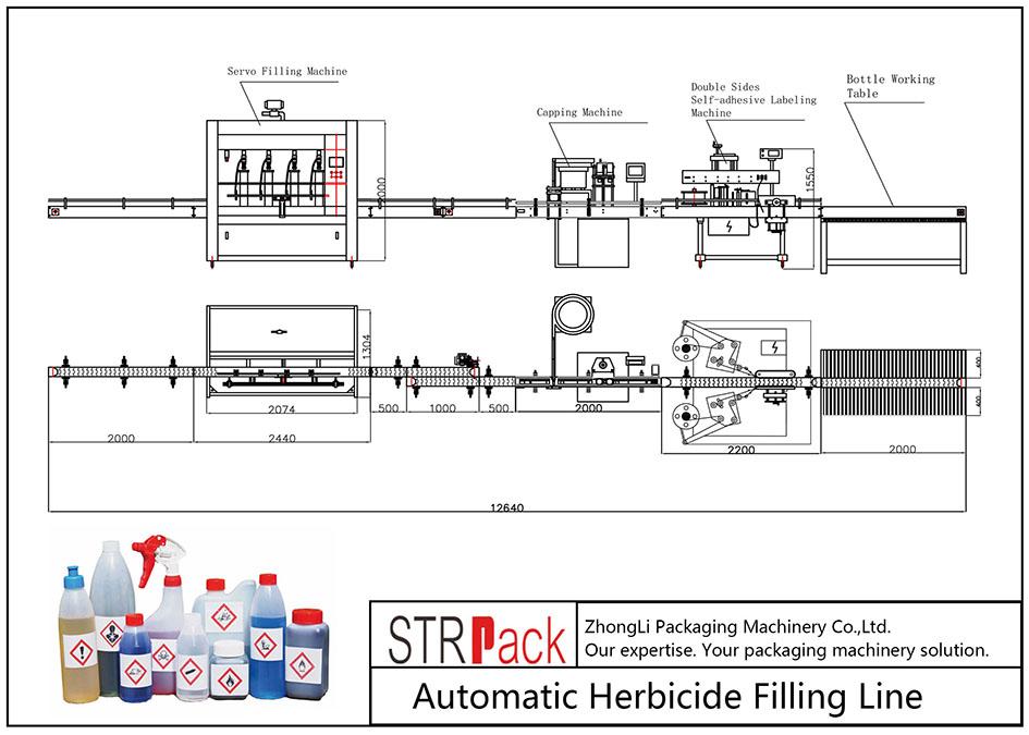 Linha de enchimento automática de herbicidas