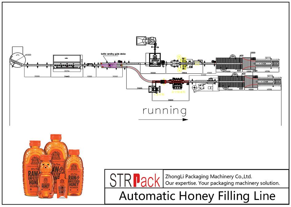 Linha de enchimento automática de mel