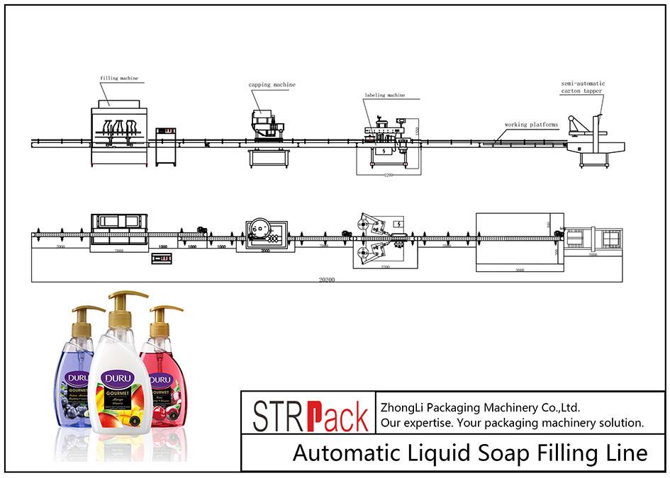 Linha de enchimento automática de sabão líquido