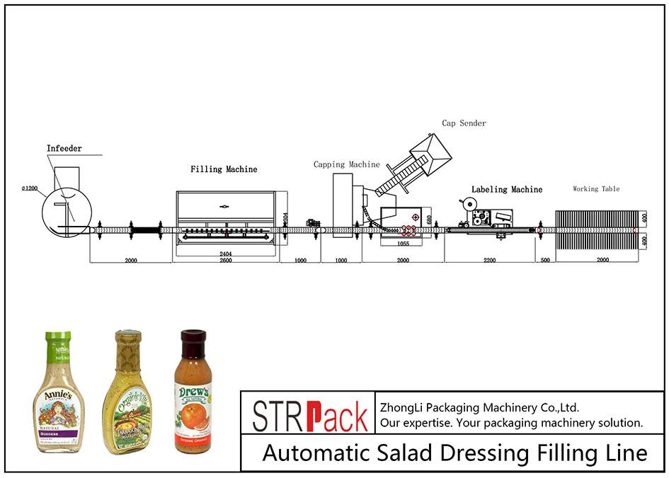 Linha de enchimento automática de molho para salada