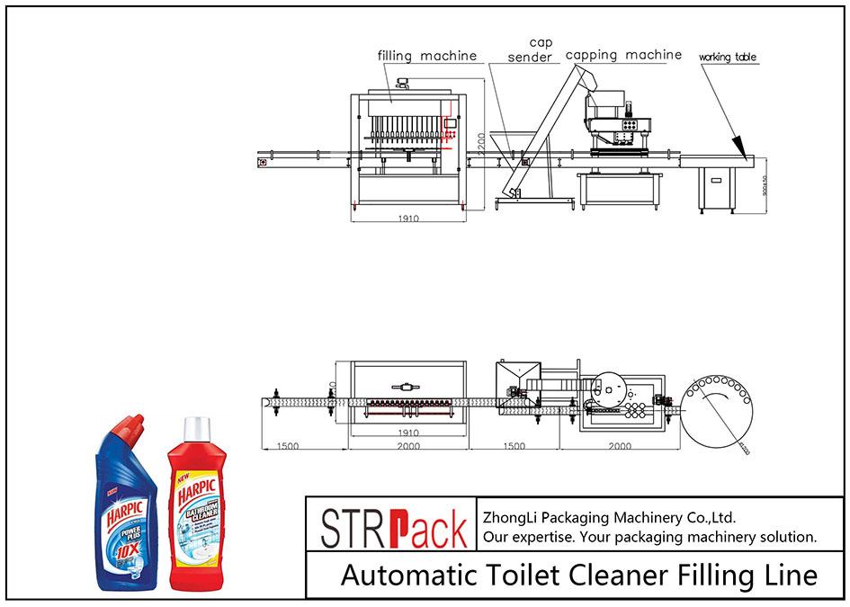 Linha de enchimento de limpador de banheiro automático