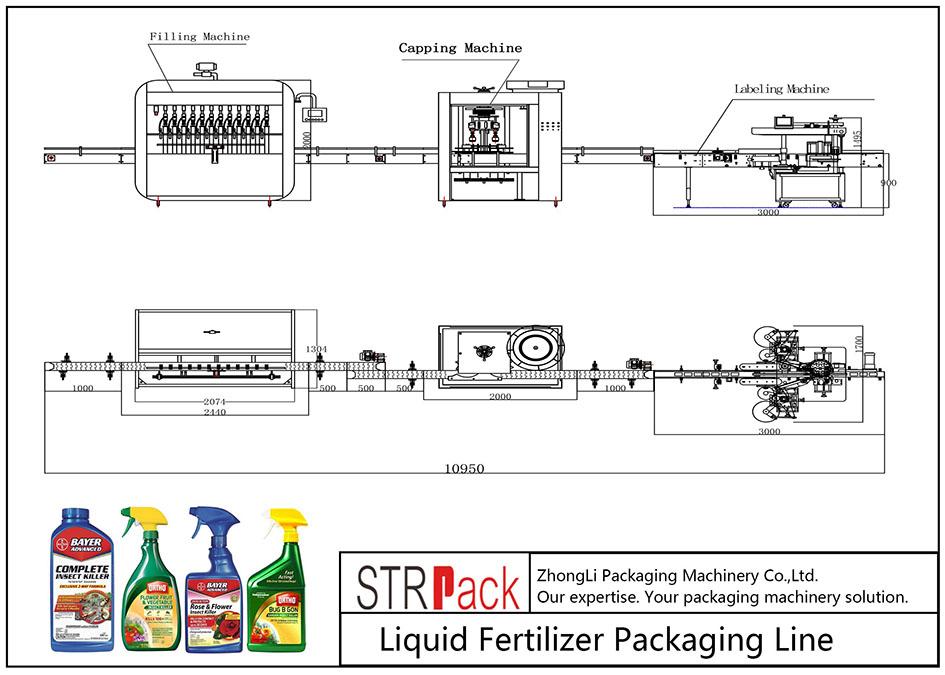 Linha de embalagem automática de fertilizantes líquidos