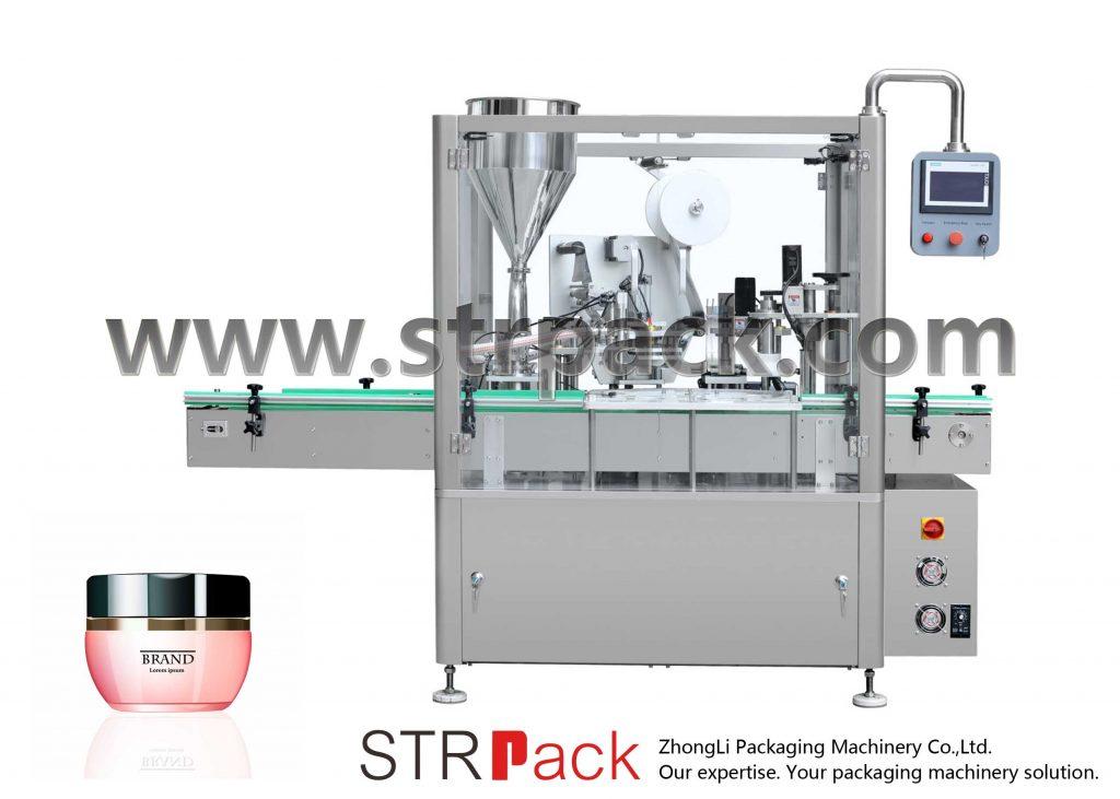 Máquina de enchimento, selagem e nivelamento de creme