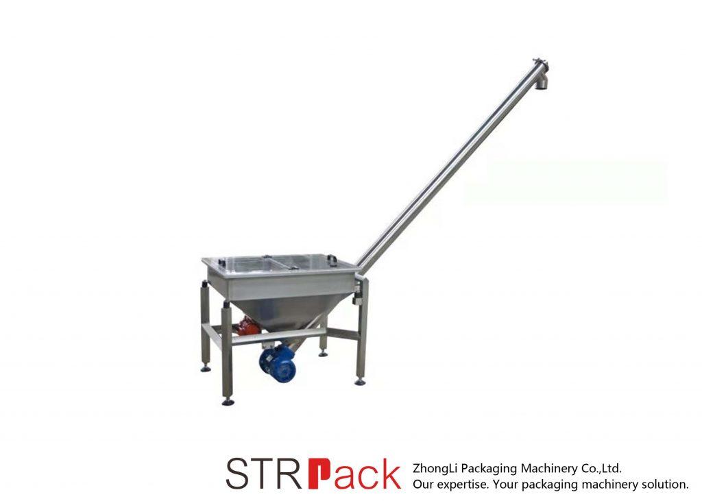 Transportador de parafuso inclinado com tremonha de vibração